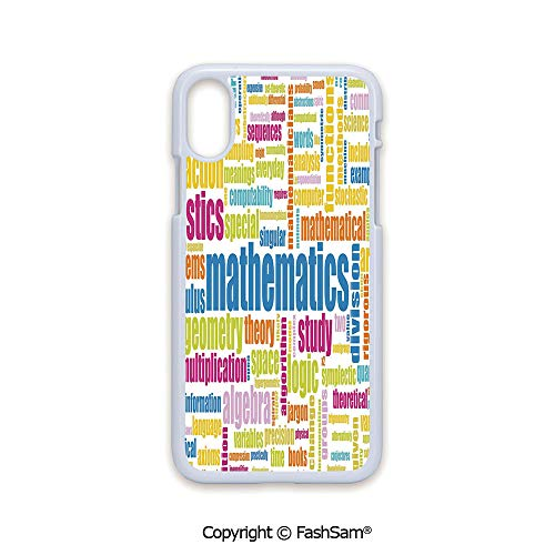 Plastic Rigid Mobile Phone case Compatible with iPhone X Black Edge Math Related Different Words Conceptual Terminology Collection 2D Print Hard Plastic Phone Case ()