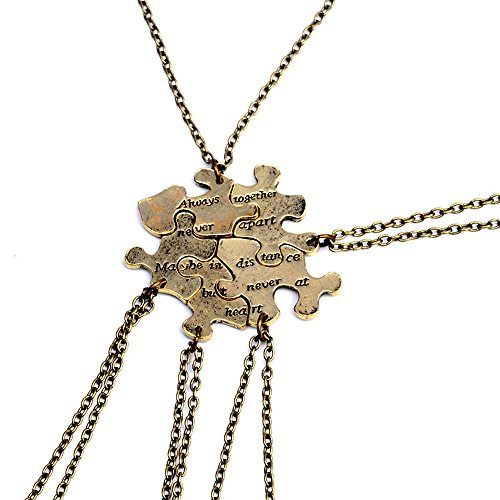 5pcs Gold Tone Always Together Never Apart Puzzle Best Friends Sister Pendant Necklace Jewelry Gifts