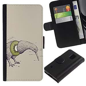 LASTONE PHONE CASE / Lujo Billetera de Cuero Caso del tirón Titular de la tarjeta Flip Carcasa Funda para Samsung Galaxy S5 V SM-G900 / Kiwi Bird Fruit Art Drawing Pencil Word Green