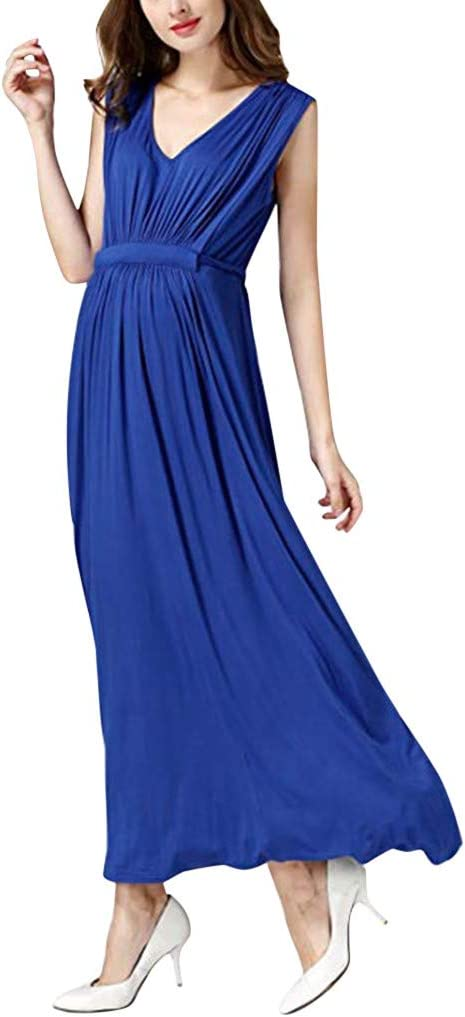 Yliquor Maternity Womens Elegant Dress Pregnanty Sleeveless Ruffles Solid Color Nursing Baby Long Dress Lady Clothes for Daily Wearing