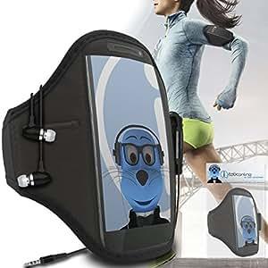 Black Black Adjustable Sports GYM Jogging Running ArmBand Case Cover with 3.5mm Aluminium Headphones For Acer Liquid Jade