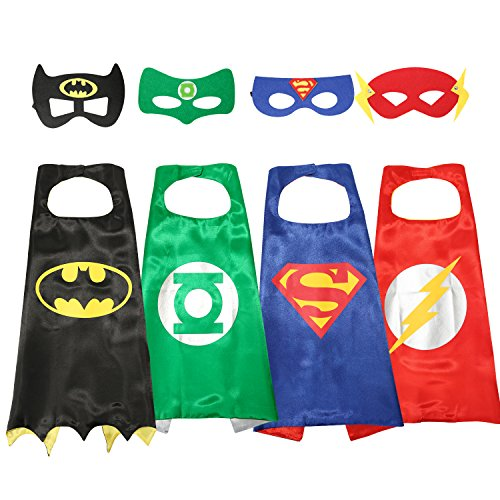 [Justice League Superhero Cape and Mask Costumes Set - Take Home Party Gifts (Boy) (BOy)] (Light Up Costumes For Adults)
