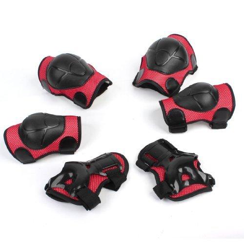 eDealMax patinaje al aire Libre Palma de la rodilla del codo Protector de apoyo 6 en 1 Rojo Negro Para Kid Niño