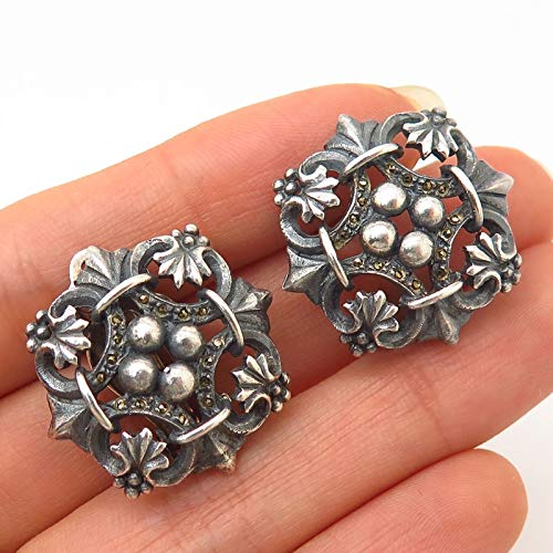 (925 Sterling Silver Vintage Real Marcasite Fleur-de-Lis Design Clip-On Earrings)