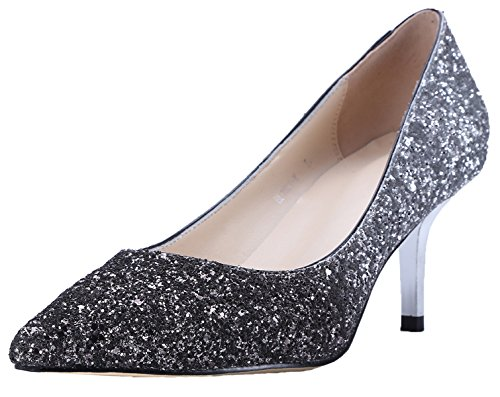 On Black Silver Slip Paillettes Hooh 6 5 Wedding Cm Pumps Gradient Women Pointy Kitten qwPf74