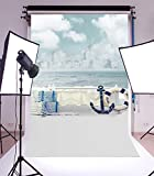 Laeacco 3x5ft Vinyl Photography Background Life Ring Seaside City Ocean and Beach Fishine Net Scene Backdrop for Kids Children Photos Studio Props