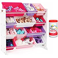 Tot Tutors Kids 12 Plastic Bin Toy Storage Organizer in Pink/Purple with Antibacterial Hand Wipes
