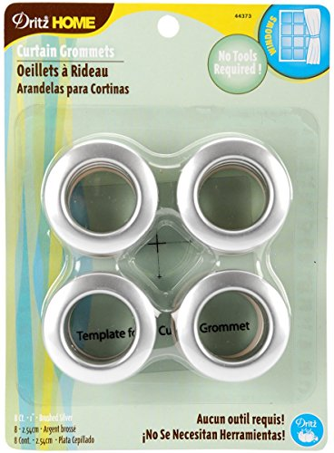 Dritz 44373 Curtain Grommets, Satin Nickel, 1-Inch, 8-Pack (Silver Grommets)