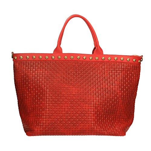 main 53x34x20 Made in cuir Italy Sac avec en bandoulière à cuir Borse véritable Cm en Rouge imprimé tressé Chicca AqSn5Pa7n