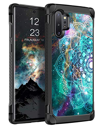 BENTOBEN Case for Samsung Galaxy Note 10 Plus/5G, Dual Layer Slim Hybrid Soft Rubber Bumper Hard PC Glow in the Dark Cover Shockproof Protective Luminous Phone Cases for Galaxy Note 10 Plus 5G Mandala