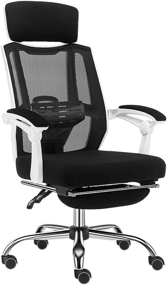 椅子黒のコンピュータチェア家庭用ゲームEsportsも椅子人間工学に基づいたオフィスチェアの家庭用コンピュータの椅子学生チェアリクライニング (Color : BLACK, Size : 64*64*121CM)