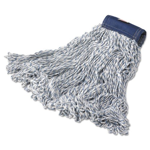 Super Stitch Finish Mops, Cotton/Synthetic, White, Large, 5-in. Blue Headband