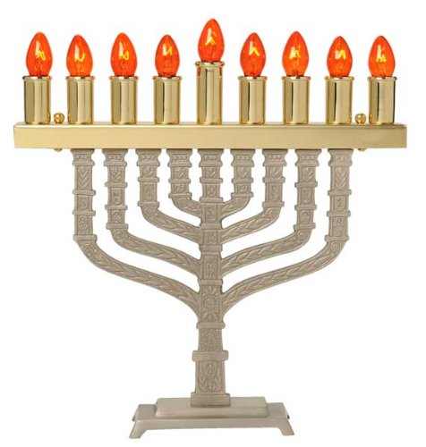 (Brass & Pewter Electric Menorah - Knesset Style, Spare Bulbs Bulbs)