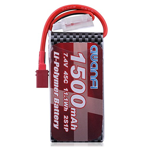 AWANFI 2S Lipo 7.4V 1500mAh 45C RC Battery Pack with Deans T Plug for RC Cars RC Boats RC Truck Traxxas Helicopter Drone Hobby