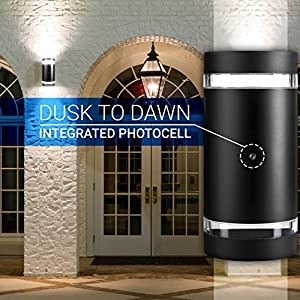 Hyperikon LED Porch Sconce Cylinder Light 12W, Black Modern Wall Mount with Photocell, 1000 lumen, 4000K (Daylight Glow), IP65 Waterproof Outdoor Up Down Light