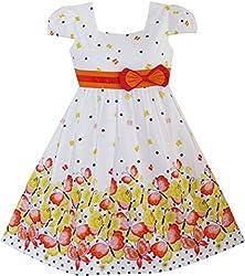 EE62 Girls Dress Short Sleeve Butterfly Dot School Size 4-5