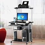 Topeakmart 2 Tier Computer Desk with Printer