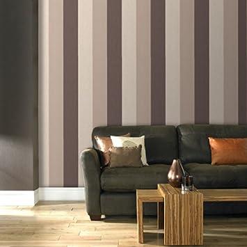 Superfresco Java Stipe Textured Chocolate Brown Cream Wallpaper - Brown and cream wallpaper