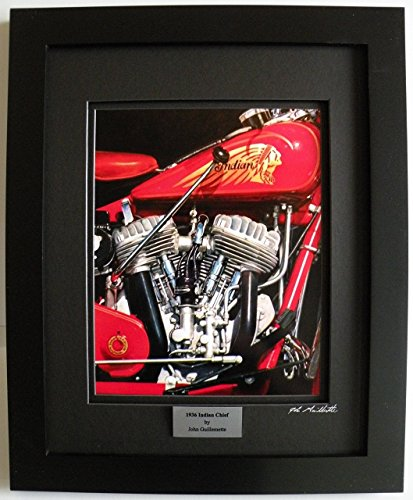 Hand Vintage Signed (Vintage 1936 Indian Chief Motorcycle Limited Edition Custom Framed Art Print, Hand Signed Numbered w/Certificate - Original Painting by John Guillemette,)
