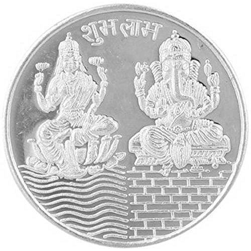 Coin Silver Ganesh - Divine Laxmi Ganesh Silver plated (Pack of 2)Coin with beautiful gift pouch for Diwali puja Best for Gift purpose in Marriage, Anniversary, Birthday and thankgiving
