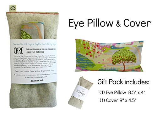 Scented Eye Pillows - Pack of (4) - Soft Cotton 4 x 8.5 - Organic Lavender Flax Seed - hand block print India - leaf blue yellow pink green by Peacegoods (Image #5)
