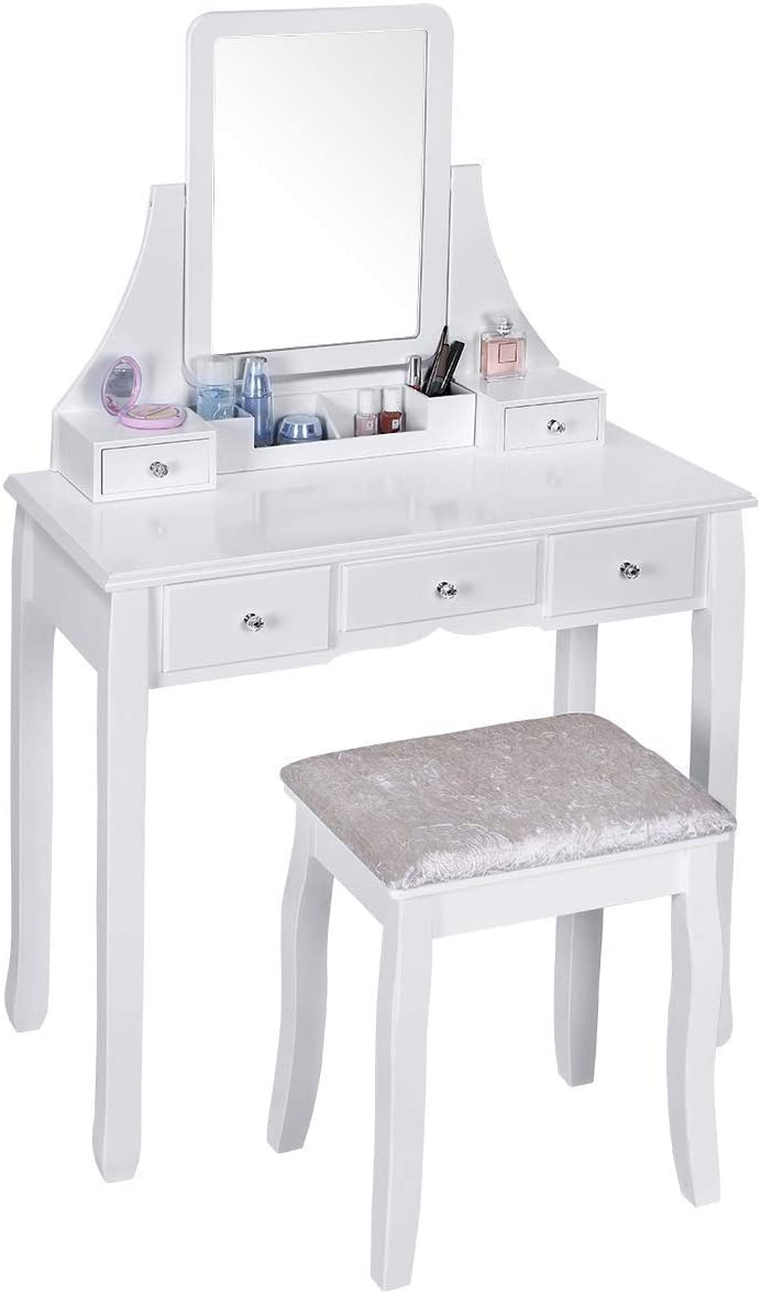 Vanity Set, Vanity Table with Mirror and Cushioned Stool, Makeup Vanity with 3 Large Sliding Drawers, Removable Organizer, Makeup Table Dressing Table Easy Assembly
