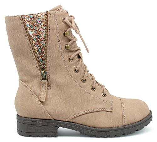 [Marco Republic Copenhagen Girls Kids Childrens Mid-Calf Military Combat Boots - (Taupe) - Big Kid 4] (Sexy Combat Boots)