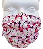 Breathe Healthy Dust, Allergy & Flu Mask - Comfortable, Washable Protection from Dust, Pollen, Allergens, Cold & Flu Germs with Antimicrobial; Asthma Mask; Pink Dogwwod Pattern (Child / Smaller Face)