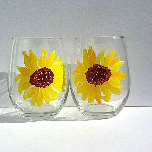 Yellow Sunflower Hand Painted Stemless Wine Glasses (Set Of 2), Floral Kitchen (Floral Painted Glass)