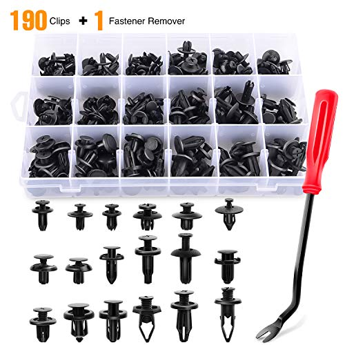 Save on GOOACC 190 Pcs Car Retainer Clips & Fastener Remover - 18 Most Popular Sizes & Applications Auto Push Pin Rivets Set -Door Trim Panel Clips for Toyota, Honda, Nissan, Mazda - Bonus Fastener Remover and more