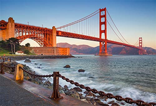 AOFOTO 7x5ft Golden Gate Bridge Backdrop River Mountains Sunset San Francisco California Tourist Attractions Scenic Spots Photography Background Video Display Vinyl Photo Booth Prop