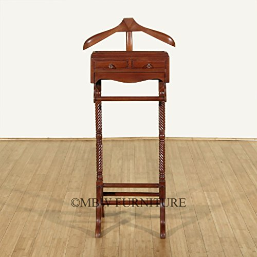 Distressed Solid Mahogany 2-Drawer Men's Clothes Valet Stand Rack w/ Hanger by MBW Furniture