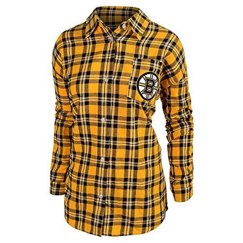 (Boston Bruins Womens Wordmark Basic Flannel Shirt Medium)