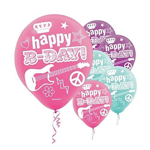 amscan Rocker Princess Printed Latex Birthday Party Balloons Decoration (6 Pack), 7.5