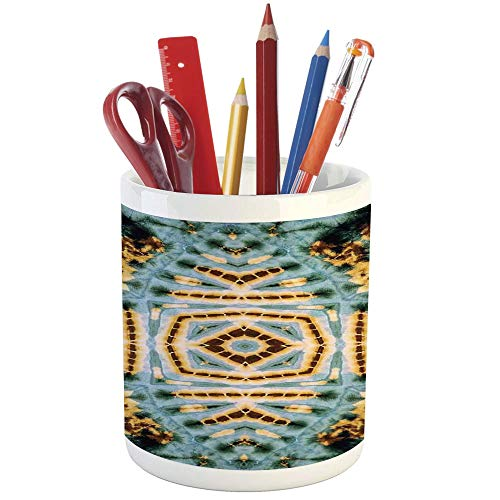 Pencil Pen Holder,Tie Dye Decor,Printed Ceramic Pencil Pen Holder for Desk Office Accessory,Close Hippie Motif with Maya Clan Figures Dirt Tones Counter Culture Print ()