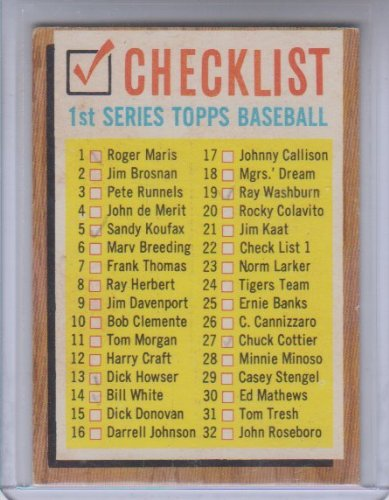 1962 Topps Baseball Checklist #22 Checked