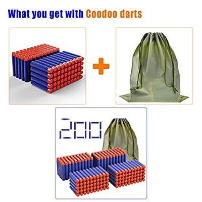 Coodoo Nerf Compatible Darts 200 PCS Refill Pack Bullets for Nerf N-Strike Elite Series Blasters Toy Gun - Blue with Storage Bag: Toys & Games