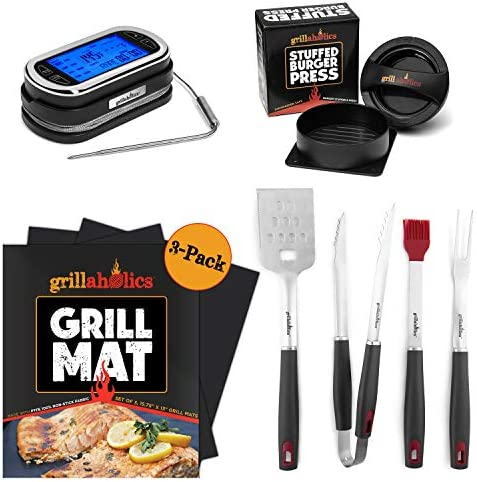 Grillaholics Grilling Essentials Gift Bundle – Includes Set of 3 Non Stick Grill Mats, Stuffed Burger Press, Set of 4-Piece Grill Tool Set, Premium Meat Thermometer – Massive Gift Package for Dad
