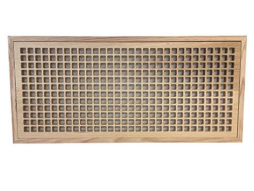 12 Inch x 30 Inch White Oak Hardwood Vent Floor Register Flush Mount with Frame, Eggcrate Style, Unfinished