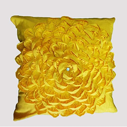 (16 X 16 Inch Cotton Bright Yellow Flower Petals Throw Pillow case cover 1 pc)