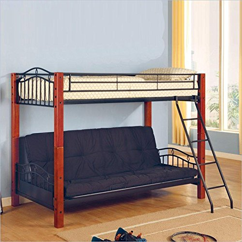 wood bunk bed with futon - 1