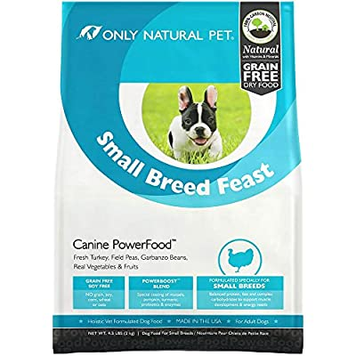 Only Natural Pet Natural Dry Dog Food Small Breed Feast - Adult Small Breed & Toy Breed - Real Turkey, Vegetables & Fruits, Canine PowerFood