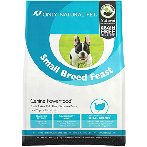 Only Natural Pet Natural Dry Dog Food Small Breed Feast - Adult Small Breed & Toy Breed - Real Turkey, Vegetables & Fruits, Canine PowerFood - 4.5 lb Bag