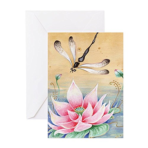 CafePress - Lotus Dragonfly Art - Greeting Card, Note Card, Birthday Card, Blank Inside Matte
