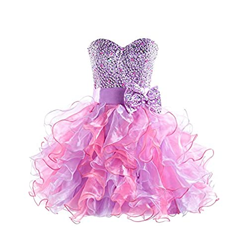 Sarahbridal Girls Short Tulle Beading Homecoming Dress Prom Gown US8 Purple