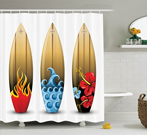 Ambesonne Surfboard Decor Collection, Three Colorful Wood Surfboards with Floral Sea and Fire Themed Summer Image, Polyester Fabric Bathroom Shower Curtain Set with Hooks, Red Blue Peru