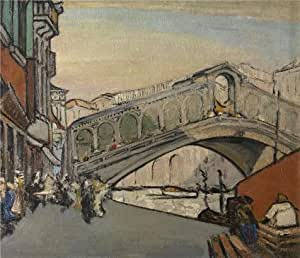 'Jules Schmalzigaug - The Rialto Bridge in Venice, 20th century' oil painting, 24x28 inch / 61x71 cm ,printed on Linen Canvas ,this Beautiful Art Decorative Prints on Canvas is perfectly suitalbe for Basement decoration and Home gallery art and Gifts