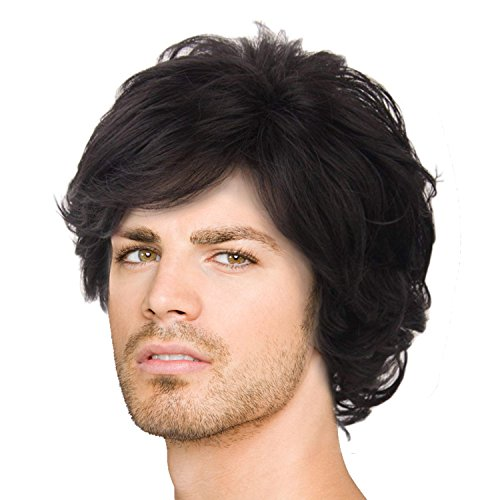 Acecharming Black Wig,Fashion Men Boy Natural Curly Short Synthetic Hair Wig with Wig Cap