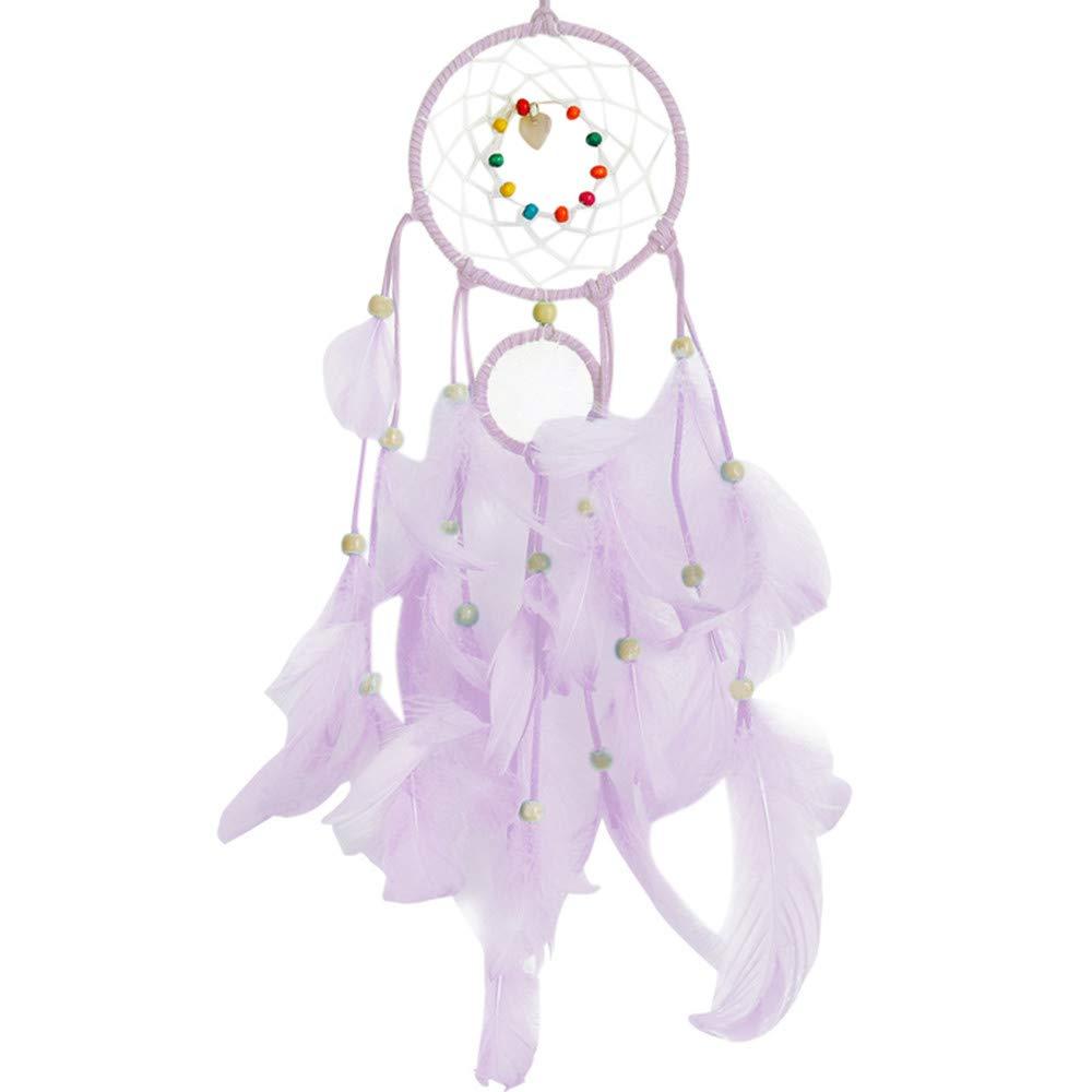 Dirance Dreamcatcher Feather LED String Light Copper Wire Fairy Night Light Lamp Festival Girl Bedroom Home Decor (Purple)