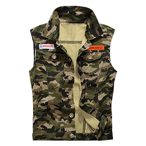 iYYVV Mens Denim Vest Casual Cowboy Jacket Ripped Holes Sleeveless Tops Camouflage